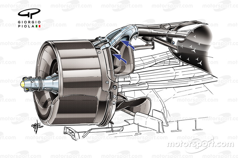 Mercedes AMG F1 W11 rear brakes duct detail