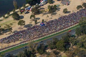 Valtteri Bottas, Mercedes AMG W10, leads Lewis Hamilton, Mercedes AMG F1 W10, and Sebastian Vettel, Ferrari SF90