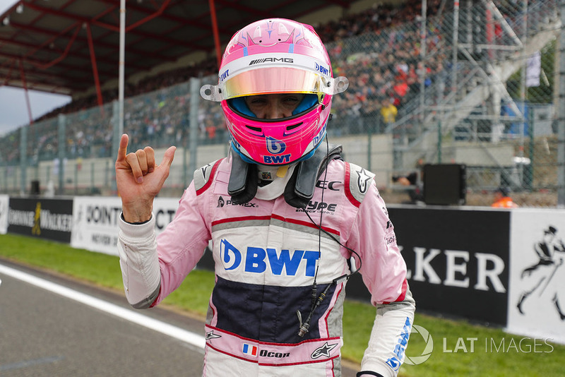 Esteban Ocon, Racing Point Force India, celebrates qualifying in third place