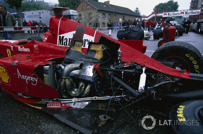 The car of Eddie Irvine, Ferrari F300 after the crash