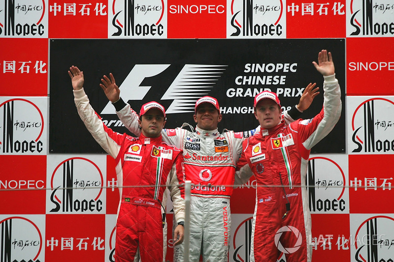 2008: 1. Lewis Hamilton, 2. Felipe Massa, 3. Kimi Raikkonen