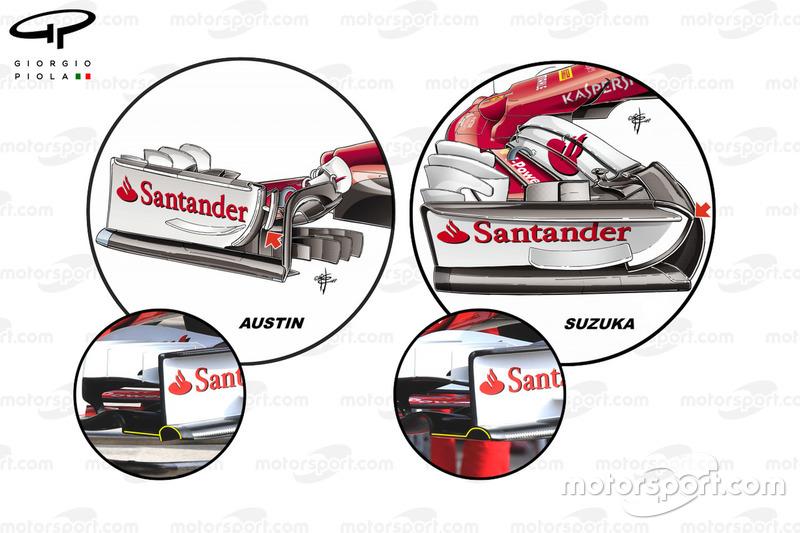 Ferrari SF70H: Frontflügel, Vergleich GP USA vs. GP Japan
