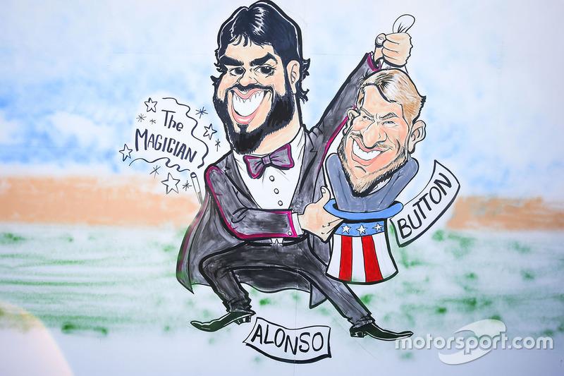 Gran Premio de España: una caricatura sobre Alonso y Button en referencia a la sustitución que el inglés hizo al español en Mónaco.