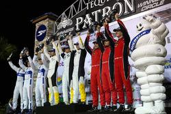 GTLM podium: winners Antonio Garcia, Jan Magnussen, Mike Rockenfeller, Corvette Racing, second place Joey Hand, Dirk Müller, Sébastien Bourdais, Ford Performance Chip Ganassi Racing, third place Toni Vilander, Giancarlo Fisichella, James Calado, Risi Competizione
