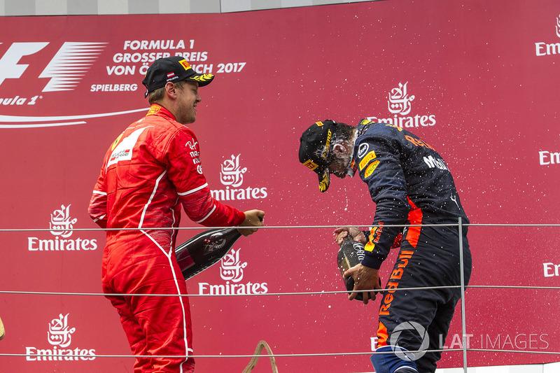 Подиум: Себастьян Феттель, Ferrari, и Даниэль Риккардо, Red Bull Racing