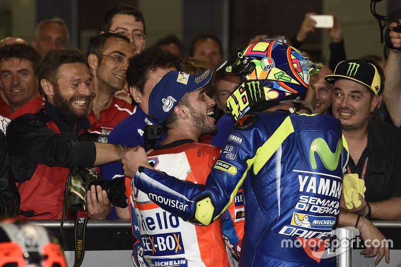 2. Andrea Dovizioso, Ducati Team; 3. Valentino Rossi, Yamaha Factory Racing