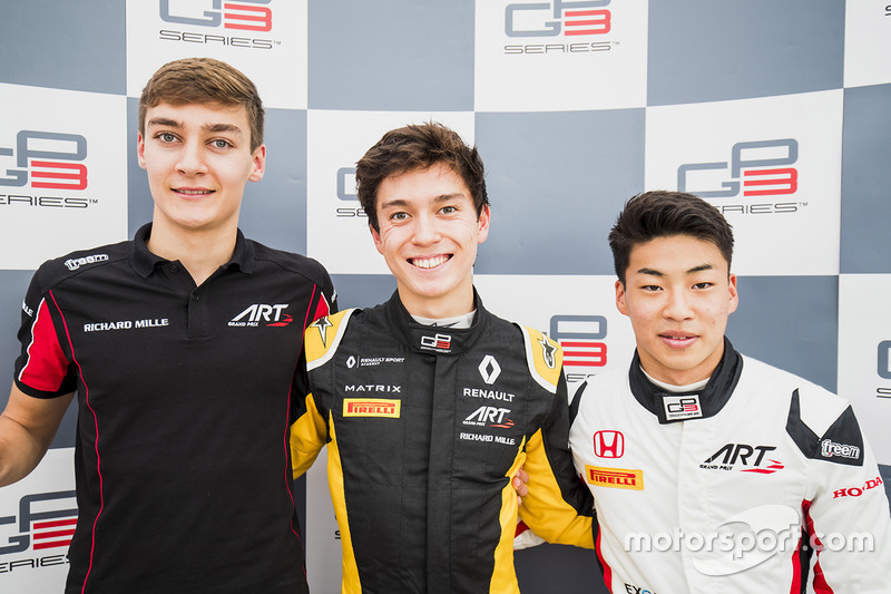 Calificados: George Russell, ART Grand Prix, Jack Aitken, ART Grand Prix, Nirei Fukuzumi, ART Grand Prix