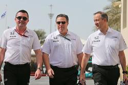 Eric Boullier, McLaren Racing Director with Zak Brown, McLaren Executive Director and Jonathan Neale, McLaren Chief Operating Officer