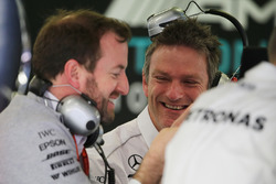 James Allison, Mercedes AMG F1 W08 Technical Director (Centre) with Bradley Lord, Mercedes AMG F1 W08 Communications Manager (Left)