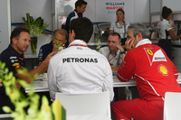 Christian Horner, Red Bull Racing Team Principal, Robert Fearnley, Sahara Force India F1 Team Deputy Team Principal, Paddy Lowe, Williams Shareholder and Technical Director, Toto Wolff, Mercedes AMG F1 Director of Motorsport and Maurizio Arrivabene, Ferrari Team Principal in Team Principals meeting