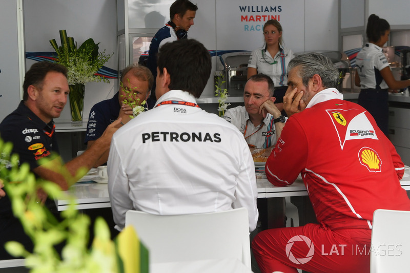 Christian Horner, Red Bull Racing Team Principal, Robert Fearnley, Sahara Force India F1 Team Deputy Team Principal, Paddy Lowe, Williams Shareholder and Technical Director, Toto Wolff, Mercedes AMG F1 Director of Motorsport and Maurizio Arrivabene, Ferrar