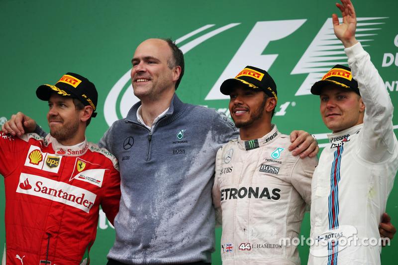Podium: Sebastian Vettel, Ferrari, Lewis Hamilton, Mercedes AMG F1, Valtteri Bottas, Williams