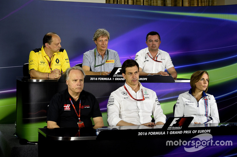 Frédéric Vasseur, Renault Sport F1 Team, Roberto Boccafogli , Pirelli, Eric Boullier, McLaren , Gene Haas, Haas F1 Team, Toto Wolff, Mercedes AMG F1, Claire Williams, Williams F1