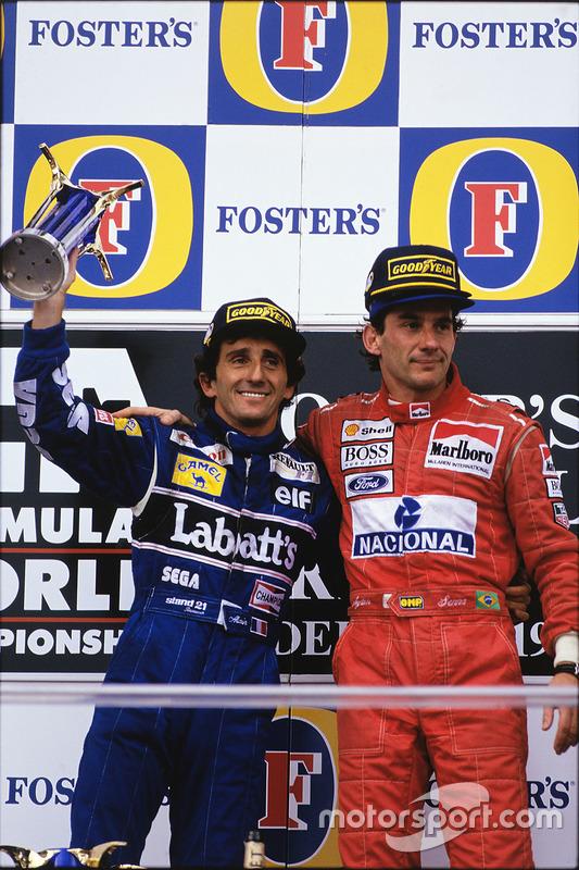 Podium: Race winner Ayrton Senna, McLaren; second place Alain Prost, Williams