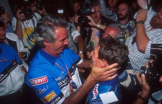 Flavio Briatore congratulates Michael Schumacher, Benetton