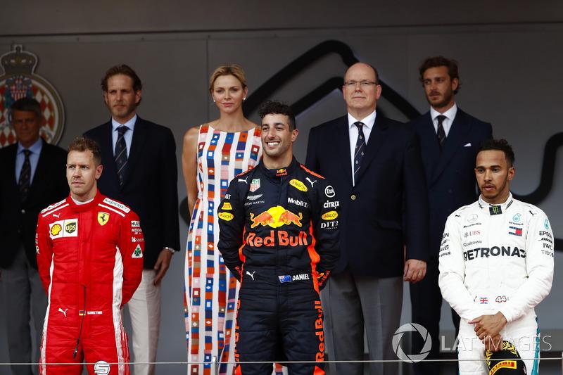 2018: 1. Daniel Ricciardo, 2. Sebastian Vettel, 3. Lewis Hamilton
