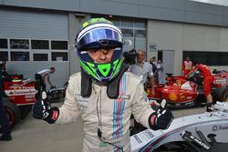 Pole sitter Felipe Massa, Williams celebrates in parc ferme
