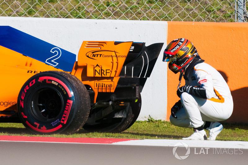 Stoffel Vandoorne, McLaren MCL33 à l'arrêt en piste