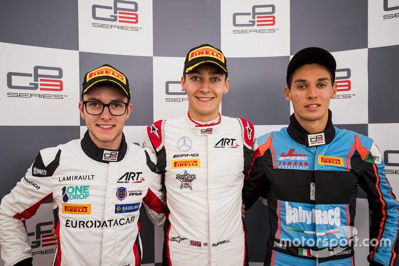 1. George Russell, ART Grand Prix; 2. Anthoine Hubert, ART Grand Prix; 3. Alessio Lorandi, Jenzer Motorsport