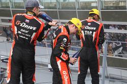 LMP2 podium: winners #22 G-Drive Racing, Oreca 07 - Gibson: Memo Rojas, Ryo Hirakawa, Leo Roussel