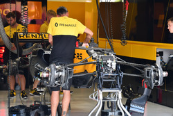 Renault Sport F1 Team RS17 front suspension in the garage