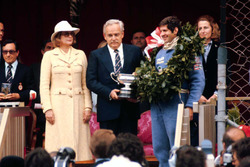 Podium: race winner Jody Scheckter, Wolf WR1 with Prince Rainier and Princess Grace of Monaco