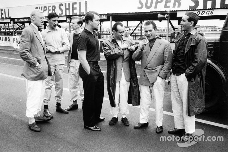 Left-to-right: Mike Hawthorn, Lancia-Ferrari D50, Roy Salvadori, Cooper T43-Climax, Tony Brooks, Vanwall VW4, Jo Bonnier, Maserati 250F, Maurice Trintignant, Lancia-Ferrari D50, Jean Behra, Maserati 250F and Luigi Musso, Lancia-Ferrari D50