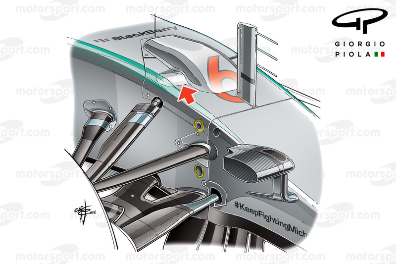 Mercedes W06 front suspension bay design