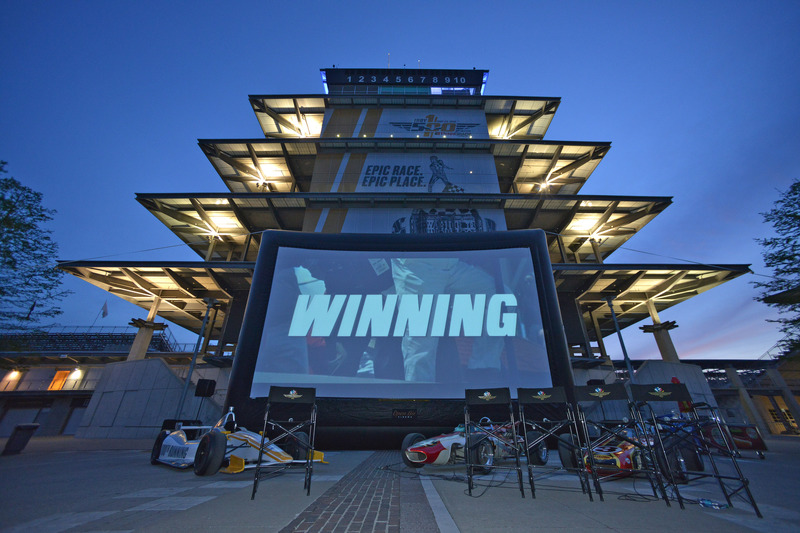 The Panasonic Pagoda Plaza readies for a screening of the film Winning at the Indianapolis Motor Speedway