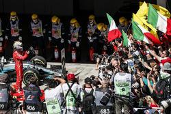 Race winner Sebastian Vettel, Ferrari SF70H celebrates in parc ferme with the Ferrari team and mechanics