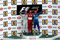 Podium: second place Kimi Raikkonen, McLaren, Race winner Michael Schumacher, Ferrari, third place Heinz-Harald Frentzen, Sauber