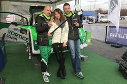 Ivan Ballinari e Sacha Andrea Togni con l'hostess di Vortice al Rally Monza Show