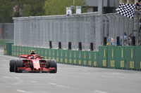 Second place Kimi Raikkonen, Ferrari SF71H takes the chequered flag