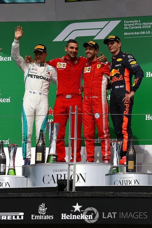 Valtteri Bottas, Mercedes-AMG F1, Sebastian Vettel, Ferrari e Max Verstappen, Red Bull Racing, festeggiano sul podio