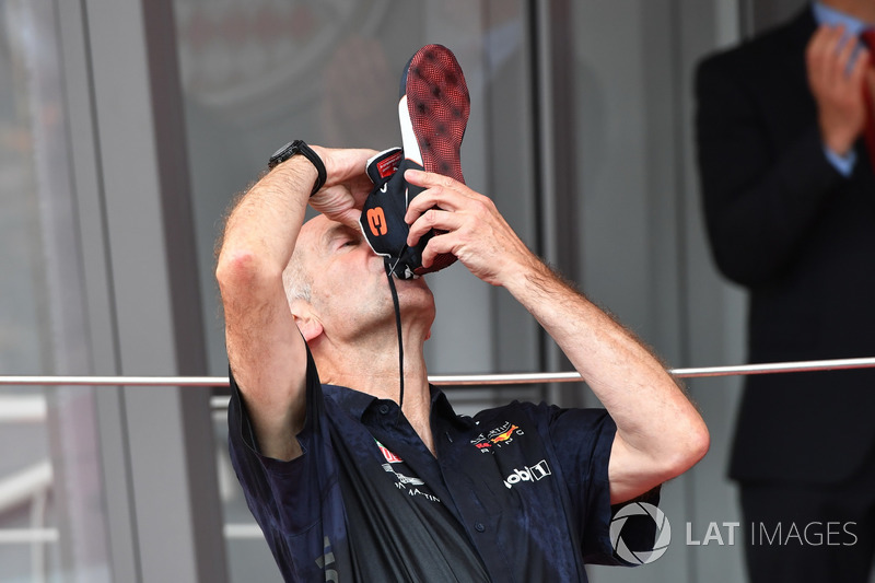 Adrian Newey, Red Bull Racing celebrates on the podium with a shoey