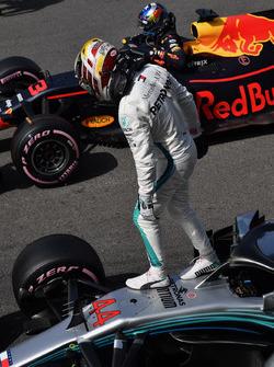 Lewis Hamilton, Mercedes-AMG F1 W09 and Daniel Ricciardo, Red Bull Racing RB14 in parc ferme