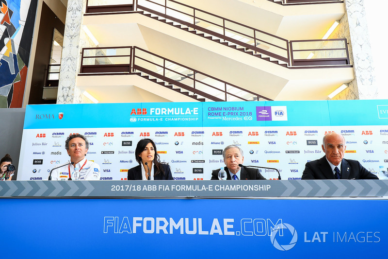 Alejandro Agag, CEO, Formula E, Virginia Elena Raggi, Mayor of Rome, Jean Todt, FIA President, Angel