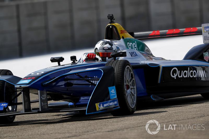 Jon Olsson, Alpine ski racer, on track in the Formula E track car