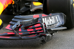 The crashed car of Max Verstappen, Red Bull Racing RB13 after FP2