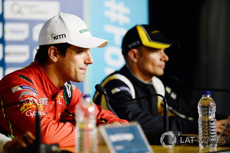 Lucas di Grassi, ABT Schaeffler Audi Sport, and Stéphane Sarrazin, Techeetah,en la conferencia