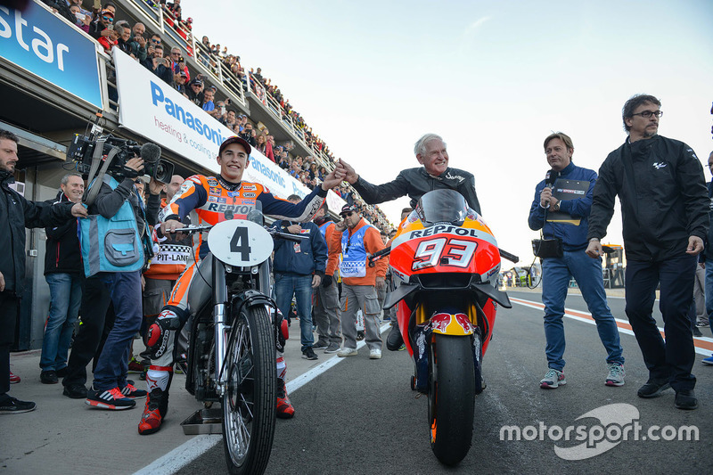Marc Marquez, Repsol Honda Team with the 1949 AJS Porcupine E90 and Sammy Miller