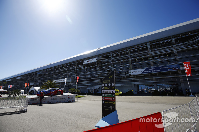 A scenic view of the entrance to the Sochi Autodrom