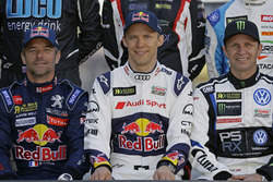 Sebastien Loeb, Team Peugeot-Hansen, Peugeot 208 WRX; Mattias Ekström, EKS, Audi S1 EKS RX Quattro; Petter Solberg, PSRX Volkswagen Sweden, VW Polo Gti