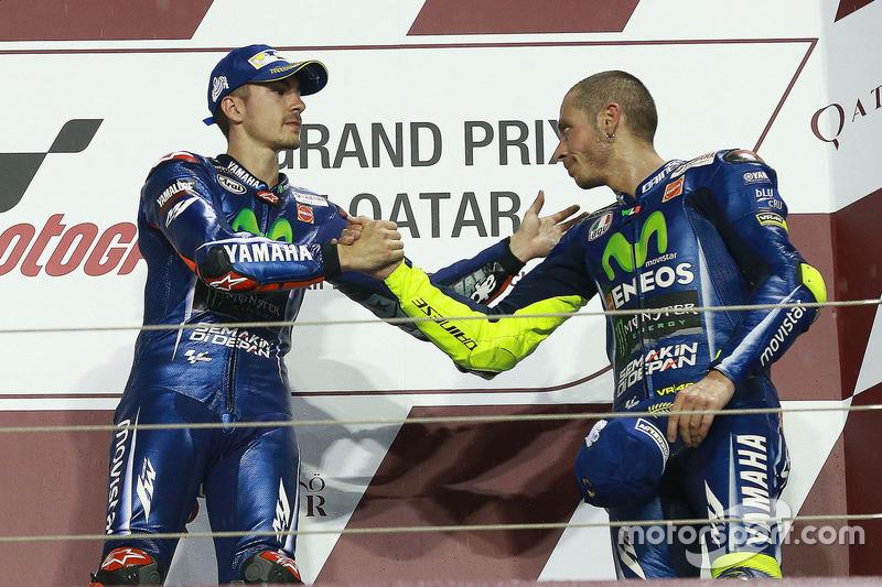Podium: 1. Maverick Viñales, Yamaha Factory Racing; 3. Valentino Rossi, Yamaha Factory Racing