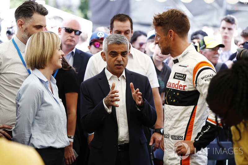 Susie Wolff, Channel 4 F1, Sadiq Khan, Mayor of London, Jenson Button, McLaren