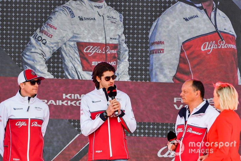 Kimi Raikkonen, Alfa Romeo Racing, Antonio Giovinazzi, Alfa Romeo Racing and Frederic Vasseur, Team Principal, Alfa Romeo Racing at the Federation Square event