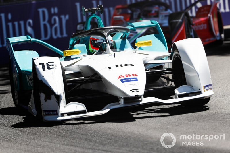 Oliver Turvey, NIO Formula E Team, NIO Sport 004, with a damaged front wing