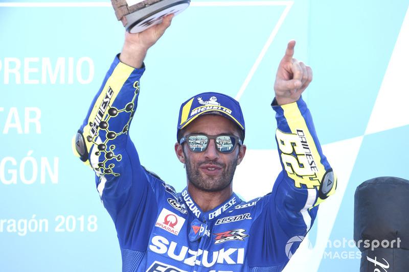 Podio: tercer puesto Andrea Iannone, Team Suzuki MotoGP