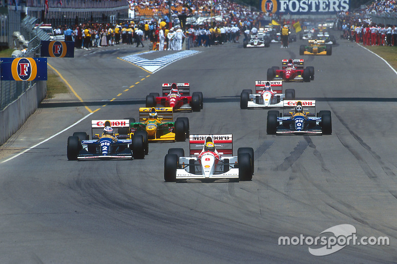 Ayrton Senna, McLaren leads Alain Prost, Williams; Michael Schumacher, Benetton; Damon Hill, Williams; Gerhard Berger, Ferrari; Mika Hakkinen McLaren and Jean Alesi, Ferrari