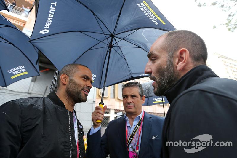 Tony Parker, Basketballspieler, und Cyril Abiteboul, Renault Sport F1 Team Geschäftfsführer